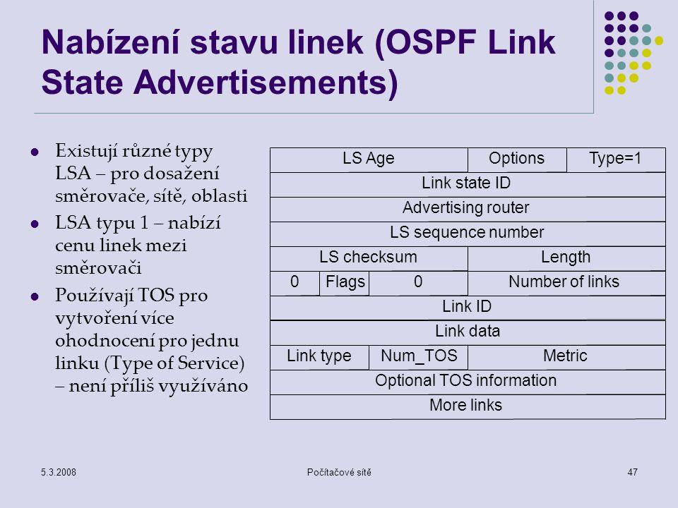 Nabízení stavu linek (OSPF Link State Advertisements)