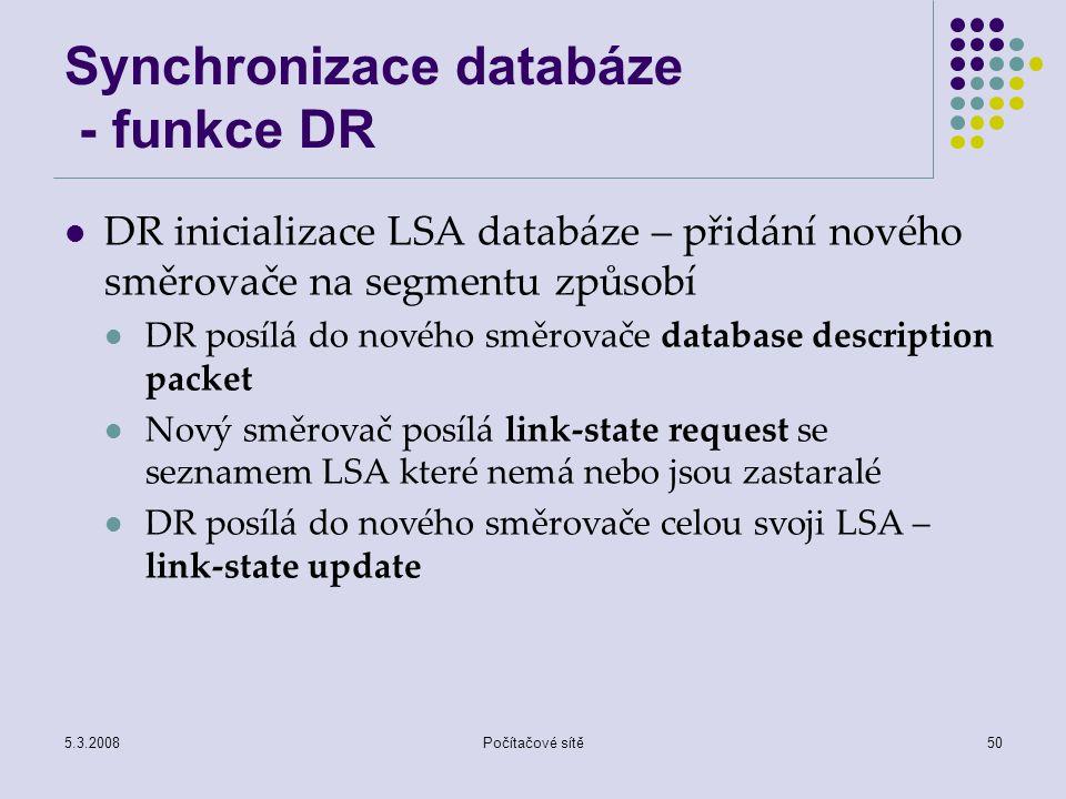 Synchronizace databáze - funkce DR