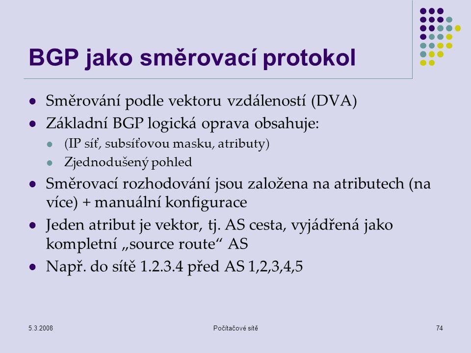 BGP jako směrovací protokol