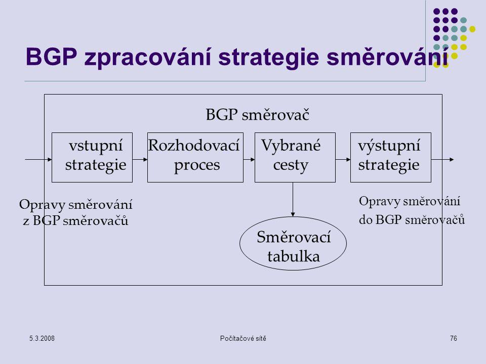 BGP zpracování strategie směrování