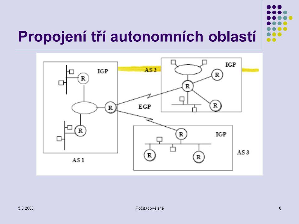 Propojení tří autonomních oblastí