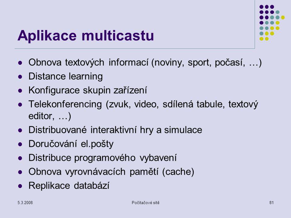 Aplikace multicastu Obnova textových informací (noviny, sport, počasí, …) Distance learning. Konfigurace skupin zařízení.