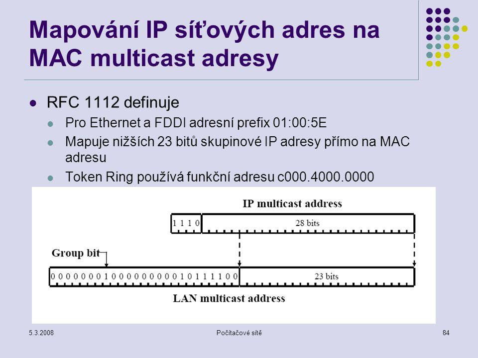 Mapování IP síťových adres na MAC multicast adresy