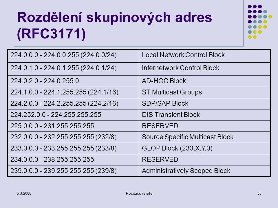 Rozdělení skupinových adres (RFC3171)