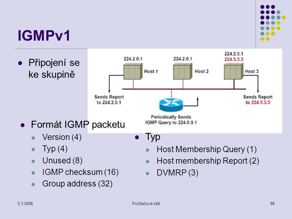 IGMPv1 Připojení se ke skupině Formát IGMP packetu Typ Version (4)