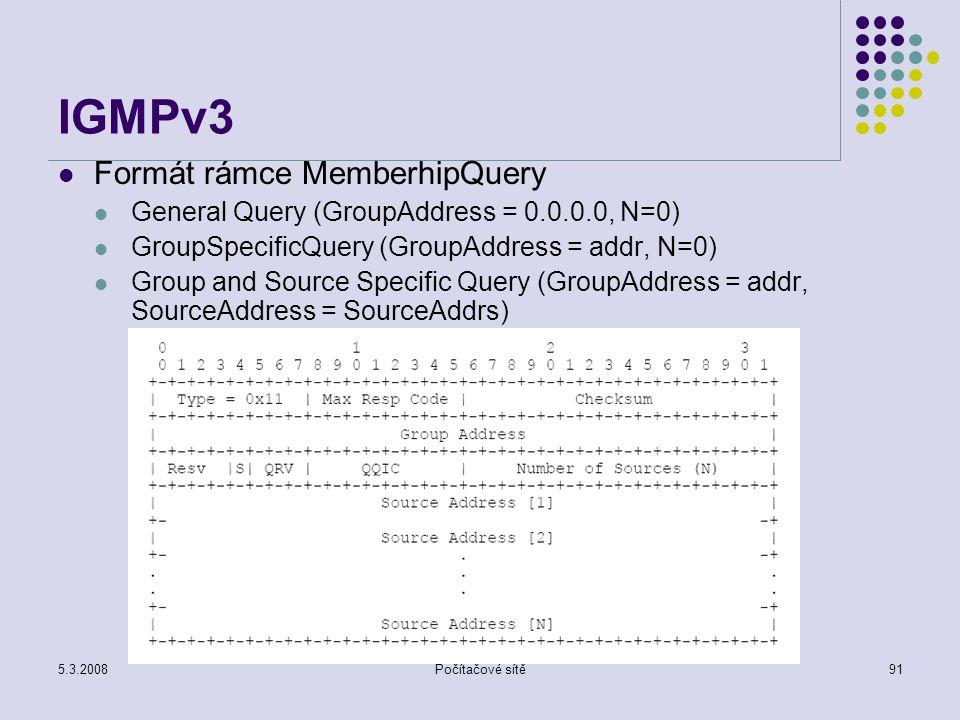 IGMPv3 Formát rámce MemberhipQuery