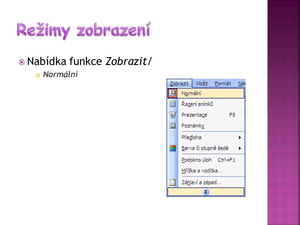Režimy zobrazení Nabídka funkce Zobrazit/ Normální