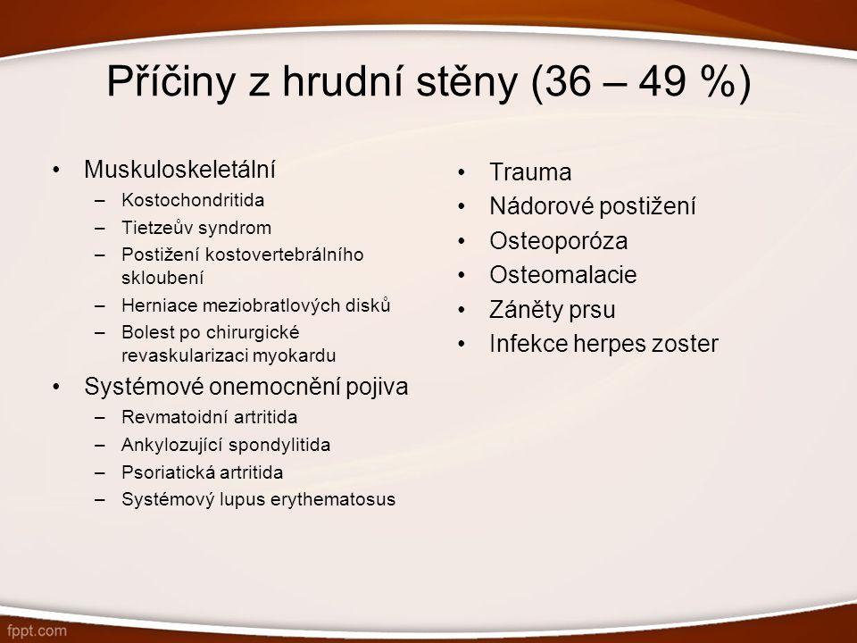 Příčiny z hrudní stěny (36 – 49 %)