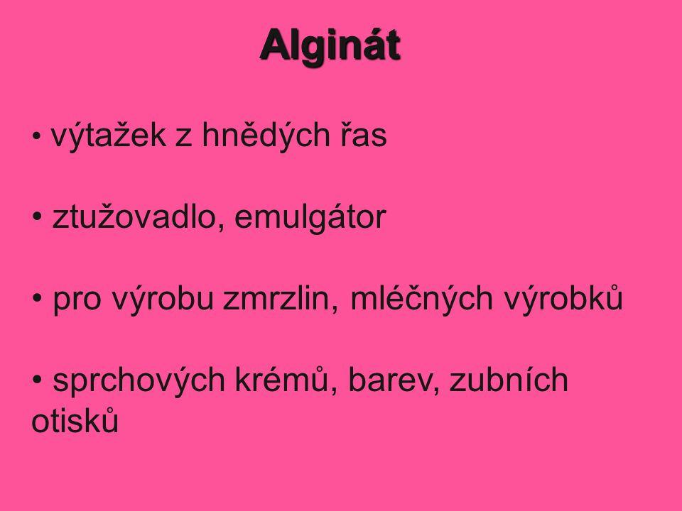 Alginát ztužovadlo, emulgátor pro výrobu zmrzlin, mléčných výrobků