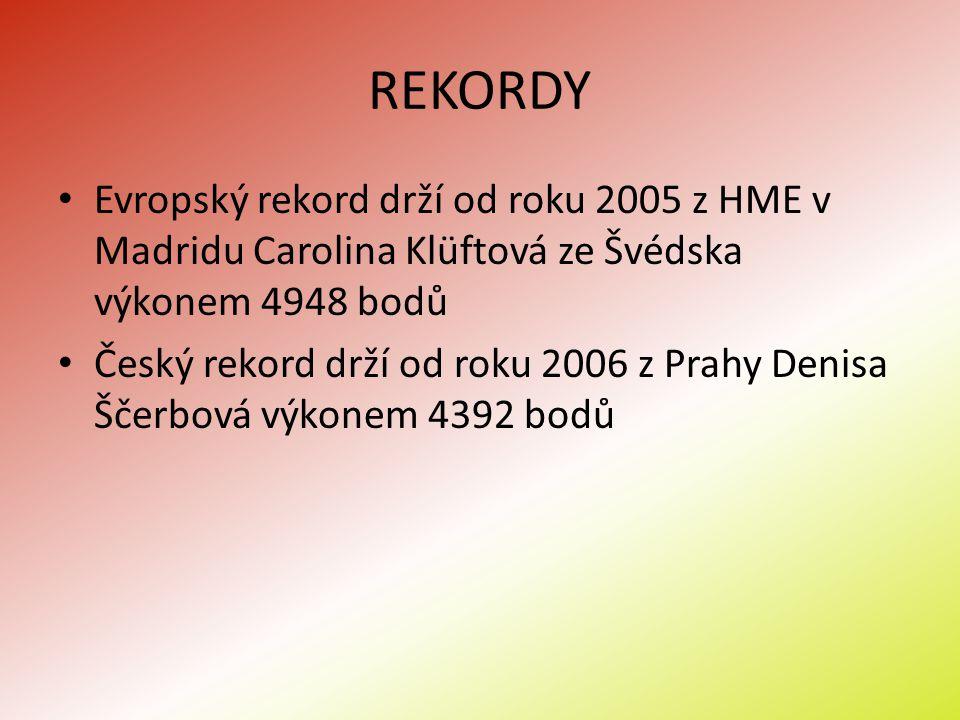 REKORDY Evropský rekord drží od roku 2005 z HME v Madridu Carolina Klüftová ze Švédska výkonem 4948 bodů.