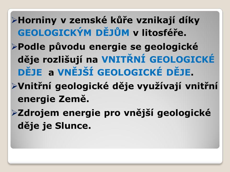 Horniny v zemské kůře vznikají díky GEOLOGICKÝM DĚJŮM v litosféře.