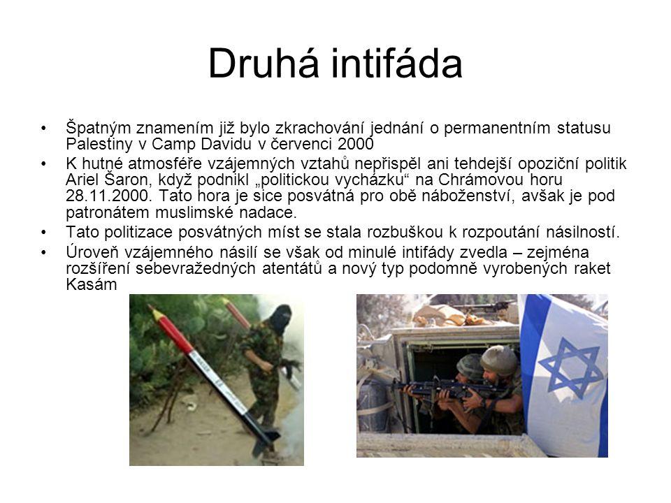 Druhá intifáda Špatným znamením již bylo zkrachování jednání o permanentním statusu Palestiny v Camp Davidu v červenci 2000.