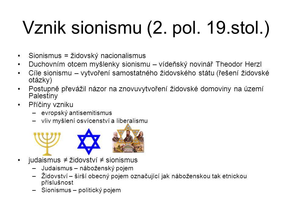 Vznik sionismu (2. pol. 19.stol.)