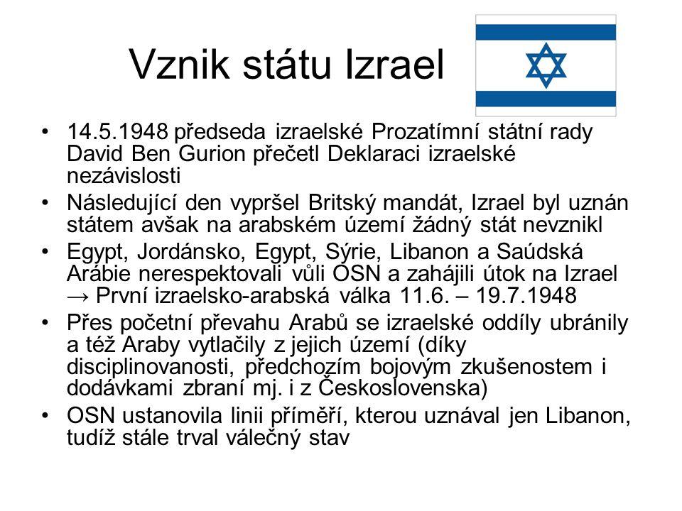 Vznik státu Izrael 14.5.1948 předseda izraelské Prozatímní státní rady David Ben Gurion přečetl Deklaraci izraelské nezávislosti.