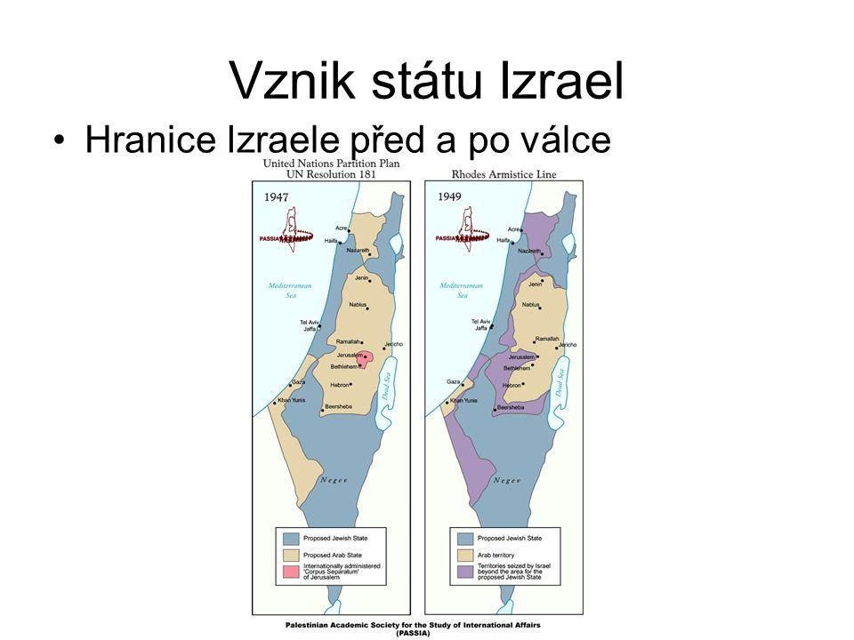 Vznik státu Izrael Hranice Izraele před a po válce