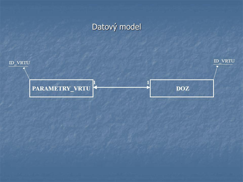 Datový model ID_VRTU ID_VRTU 1 1 PARAMETRY_VRTU DOZ