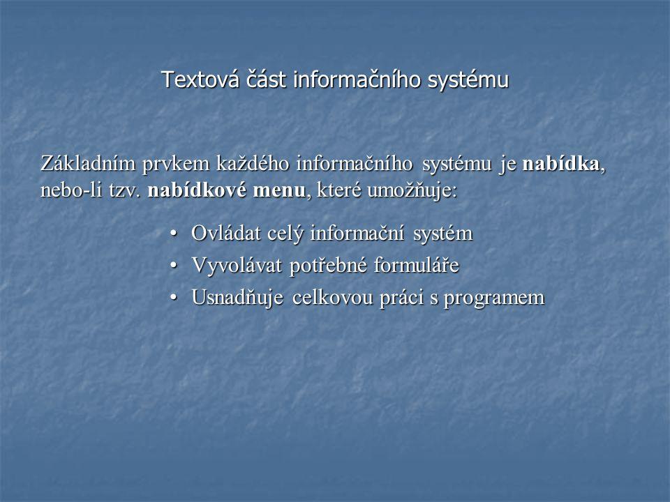 Textová část informačního systému