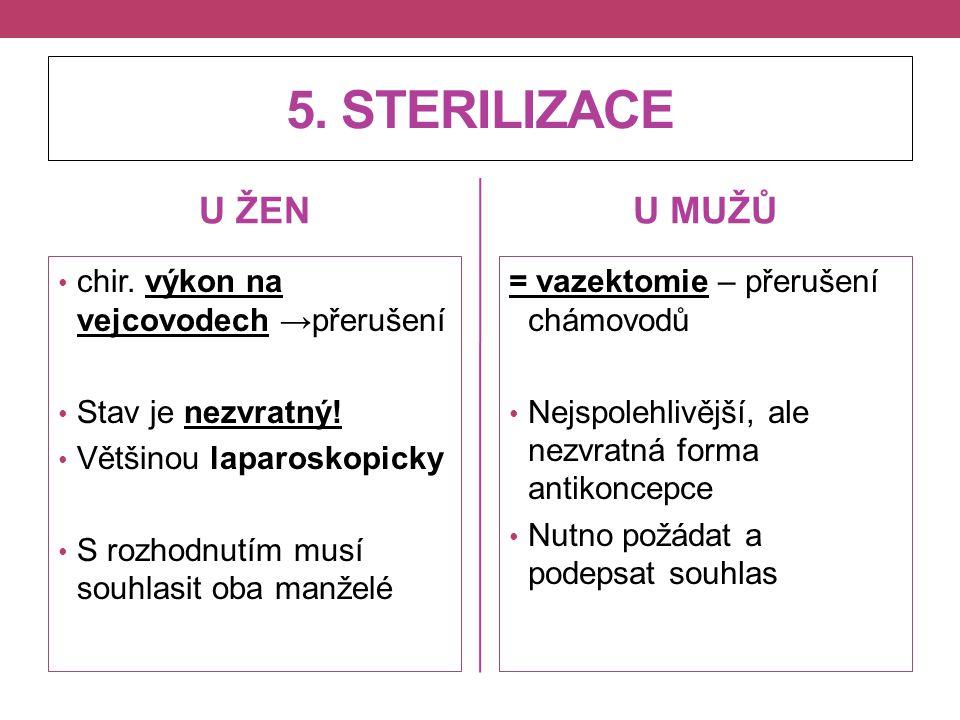 5. STERILIZACE U ŽEN U MUŽŮ chir. výkon na vejcovodech →přerušení