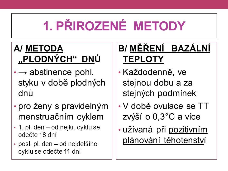 """1. PŘIROZENÉ METODY A/ METODA """"PLODNÝCH DNŮ"""