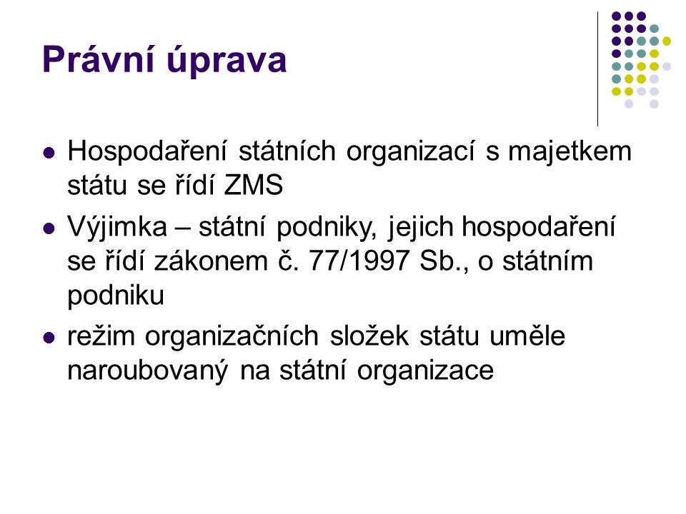 Právní úprava Hospodaření státních organizací s majetkem státu se řídí ZMS.