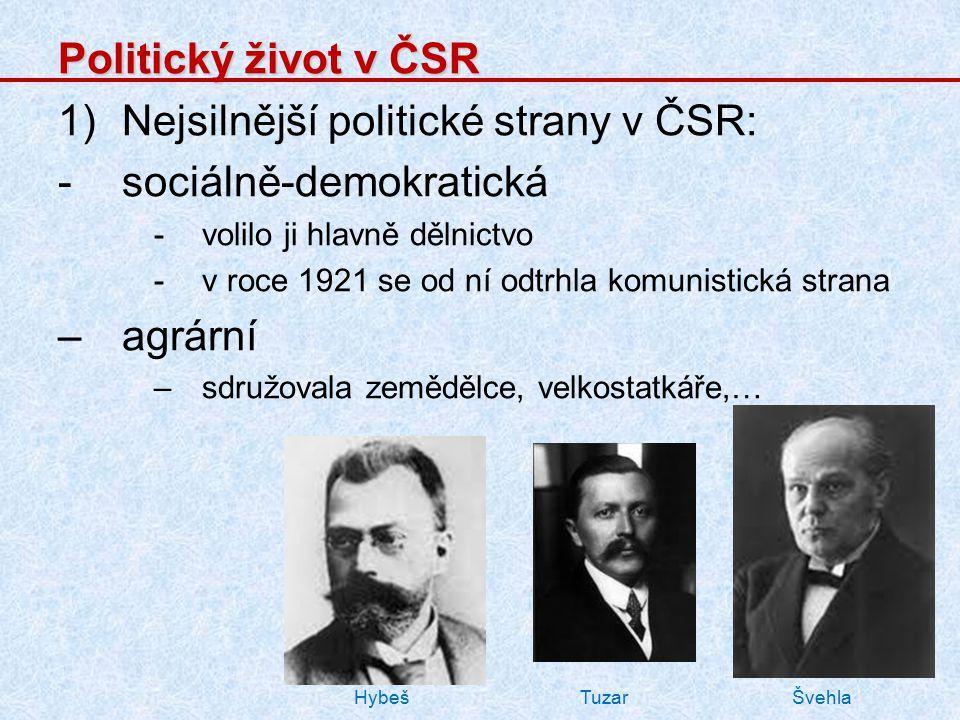 Nejsilnější politické strany v ČSR: sociálně-demokratická