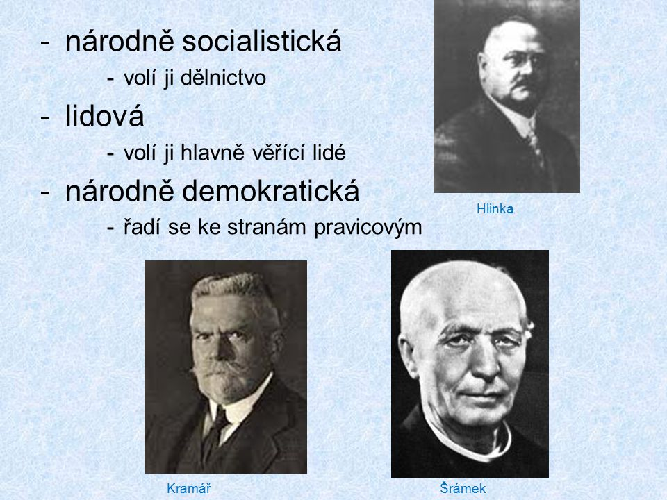 národně socialistická lidová národně demokratická