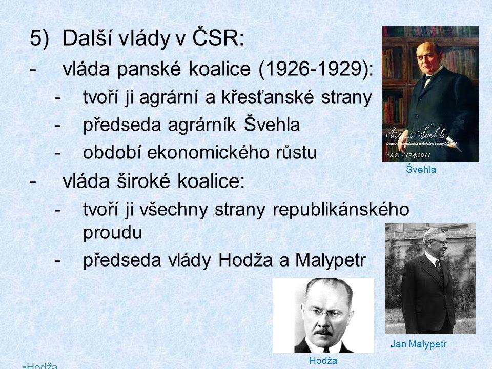 Další vlády v ČSR: vláda panské koalice (1926-1929):