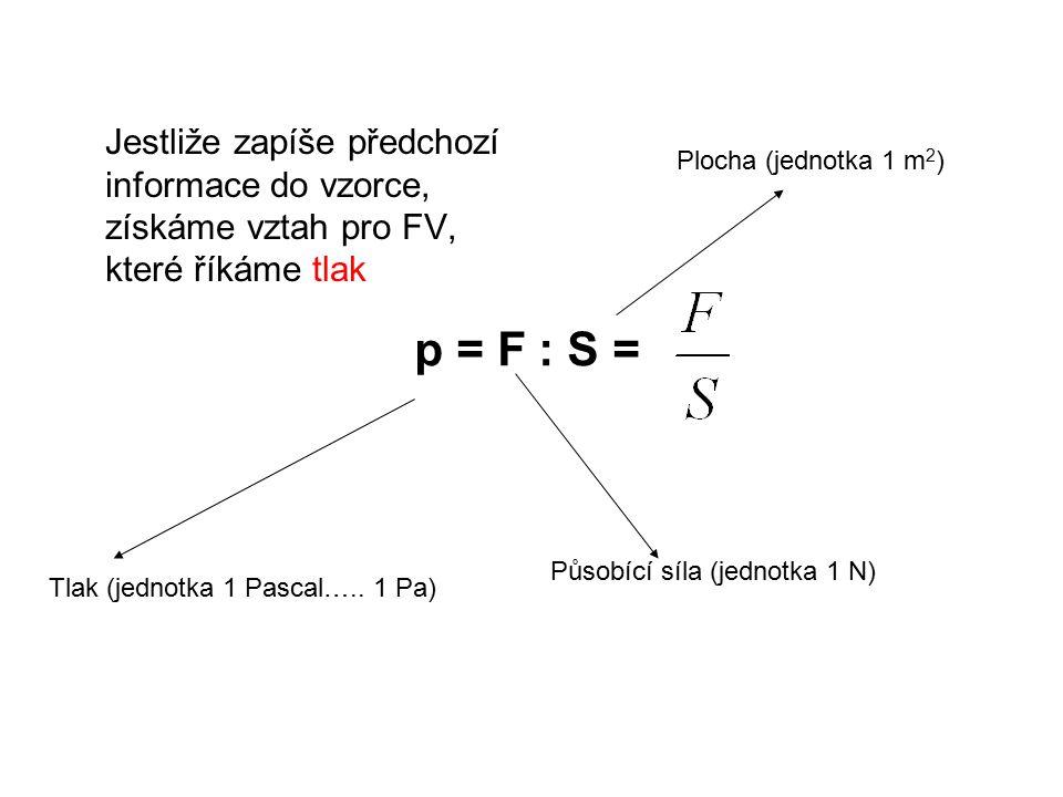 Jestliže zapíše předchozí informace do vzorce, získáme vztah pro FV, které říkáme tlak