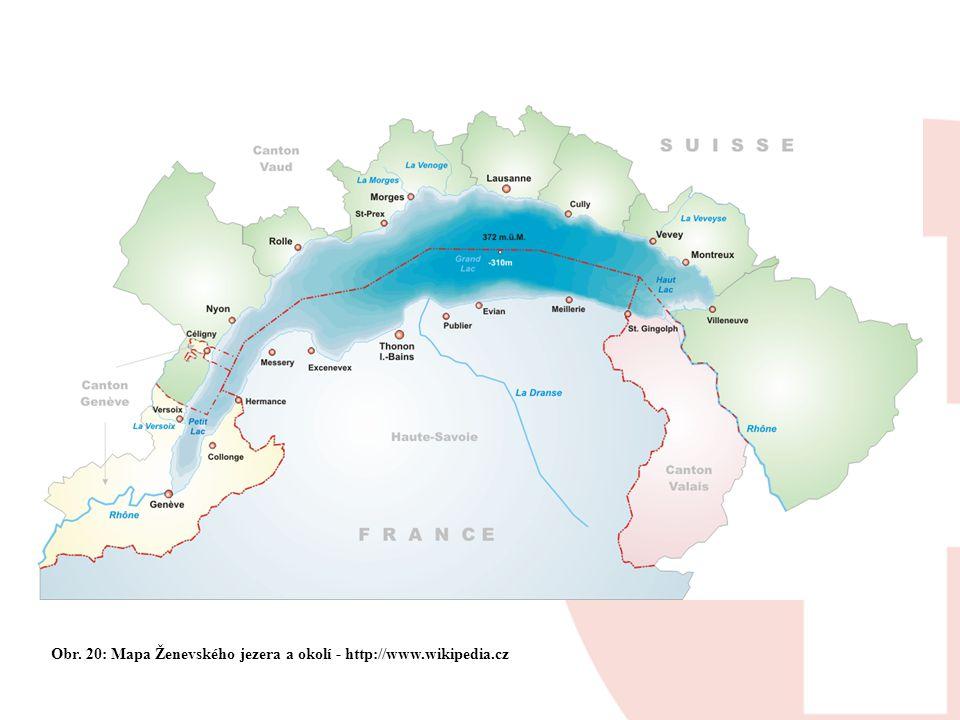 Obr. 20: Mapa Ženevského jezera a okolí - http://www.wikipedia.cz
