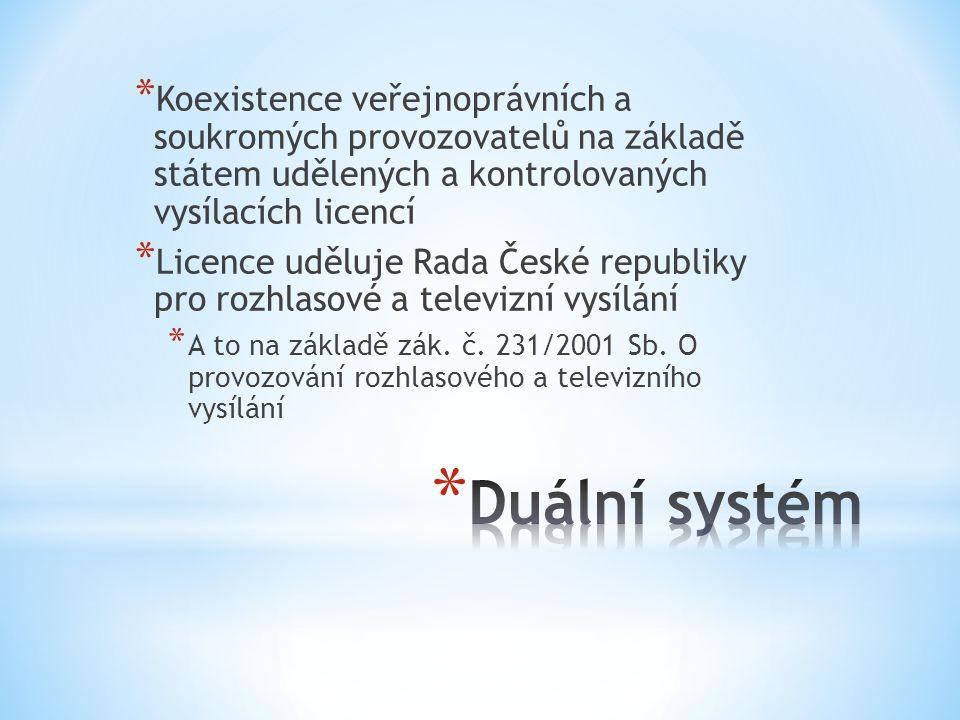 Koexistence veřejnoprávních a soukromých provozovatelů na základě státem udělených a kontrolovaných vysílacích licencí