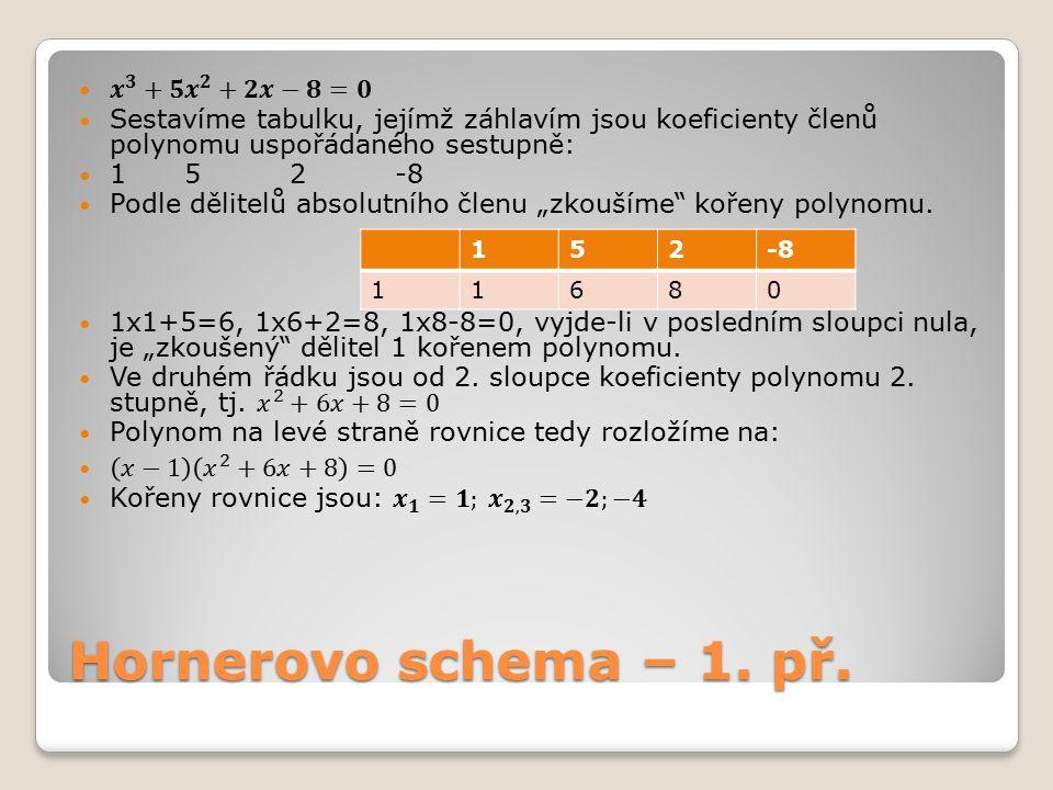 Hornerovo schema – 1. př. 𝒙 𝟑 +𝟓 𝒙 𝟐 +𝟐𝒙−𝟖=𝟎