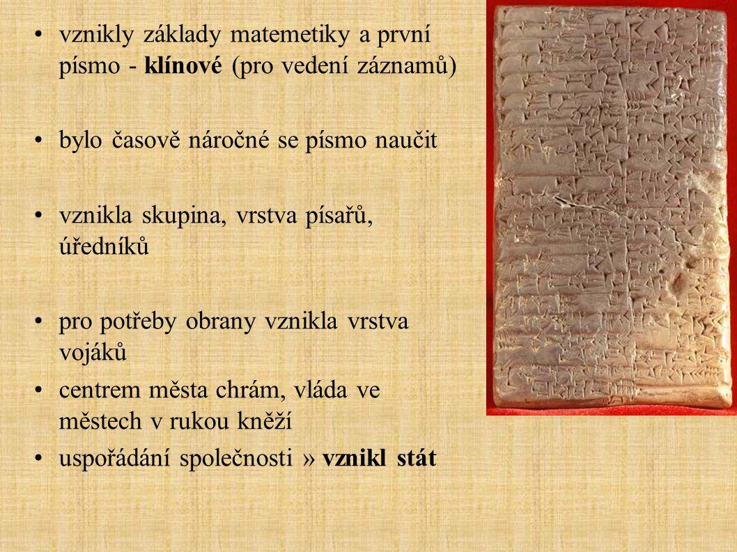 vznikly základy matemetiky a první písmo - klínové (pro vedení záznamů)