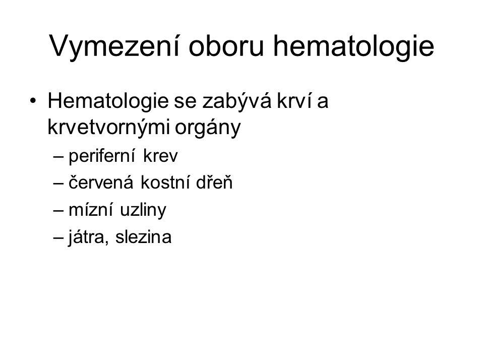 Vymezení oboru hematologie