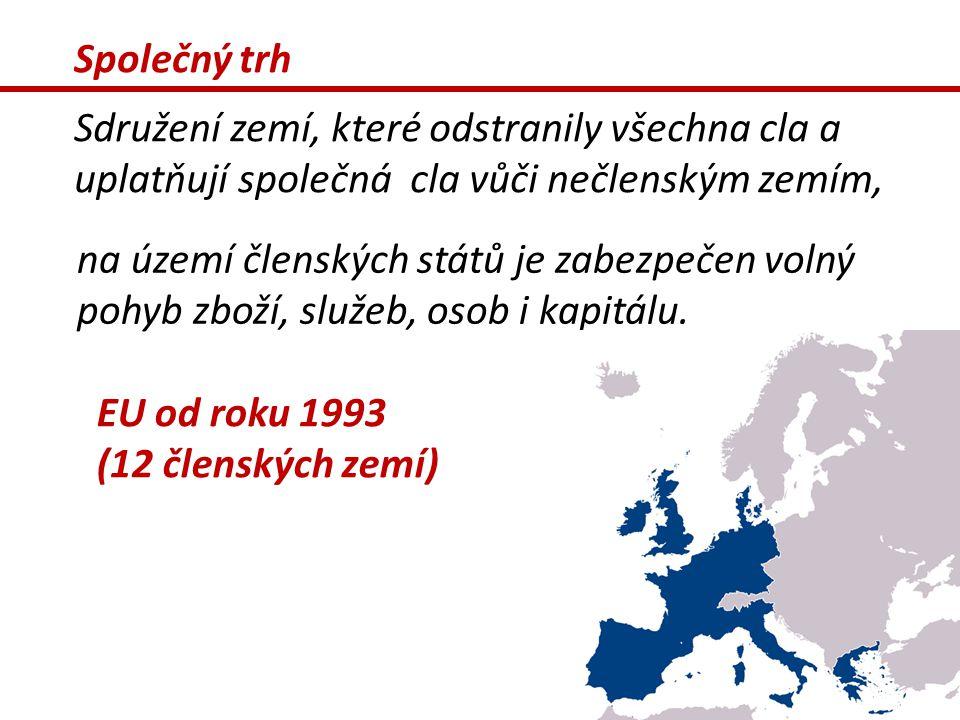 Společný trh Sdružení zemí, které odstranily všechna cla a uplatňují společná cla vůči nečlenským zemím,
