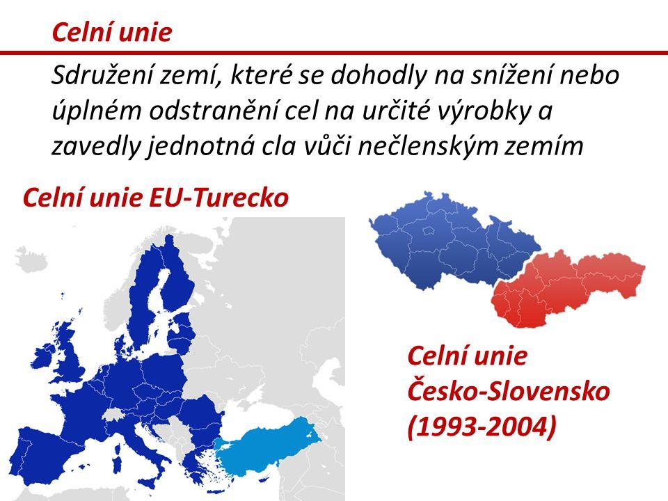 Celní unie Sdružení zemí, které se dohodly na snížení nebo úplném odstranění cel na určité výrobky a zavedly jednotná cla vůči nečlenským zemím.
