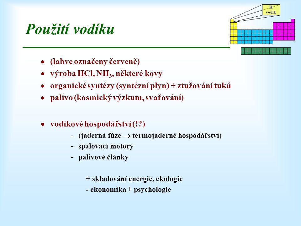 Použití vodíku (lahve označeny červeně) výroba HCl, NH3, některé kovy