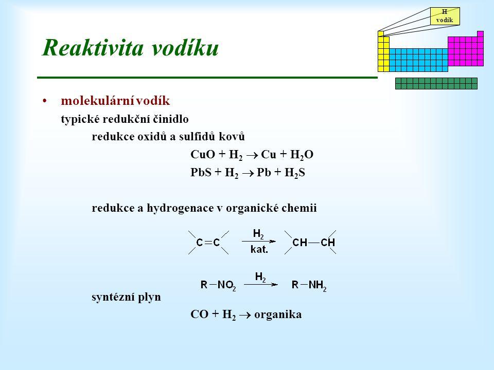 Reaktivita vodíku molekulární vodík typické redukční činidlo