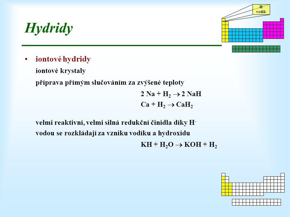 Hydridy iontové hydridy iontové krystaly