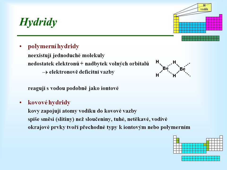 Hydridy polymerní hydridy neexistují jednoduché molekuly