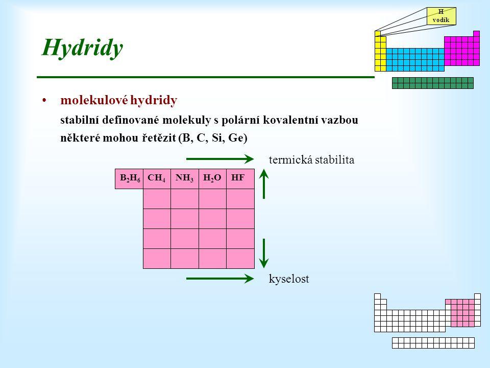 Hydridy molekulové hydridy