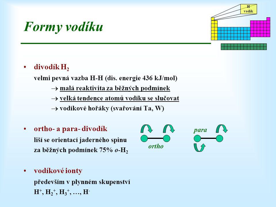 Formy vodíku divodík H2. velmi pevná vazba H-H (dis. energie 436 kJ/mol)  malá reaktivita za běžných podmínek.