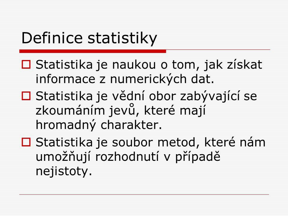 Definice statistiky Statistika je naukou o tom, jak získat informace z numerických dat.