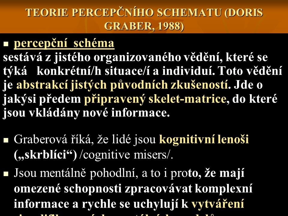 TEORIE PERCEPČNÍHO SCHEMATU (DORIS GRABER, 1988)