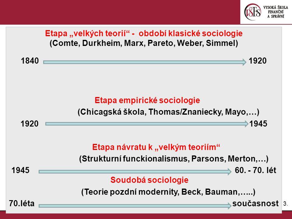 "Etapa ""velkých teorií - období klasické sociologie"