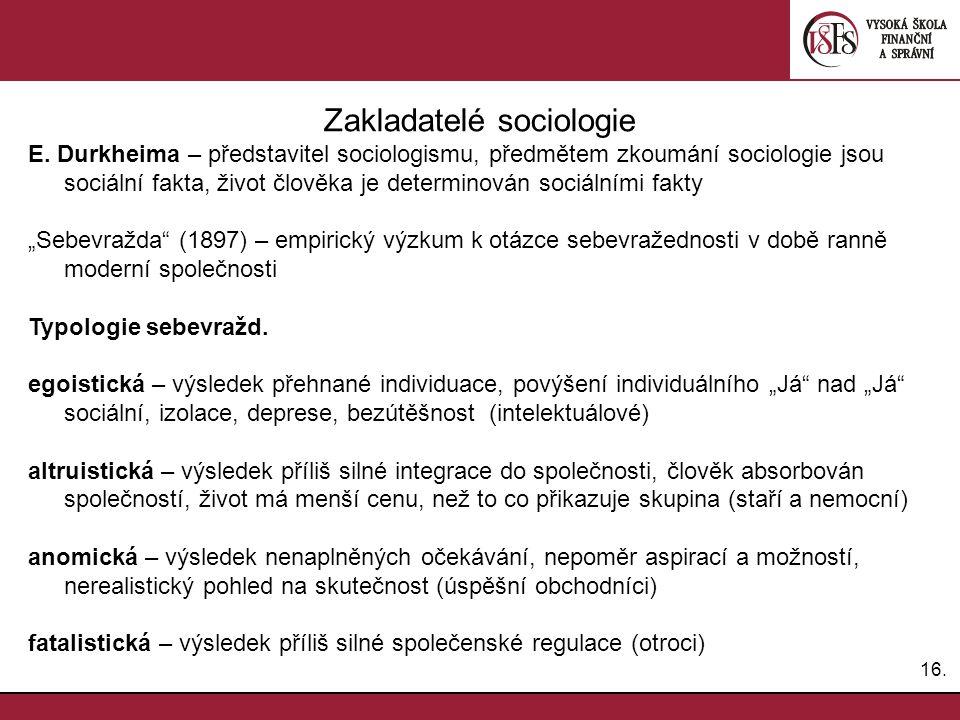 Zakladatelé sociologie