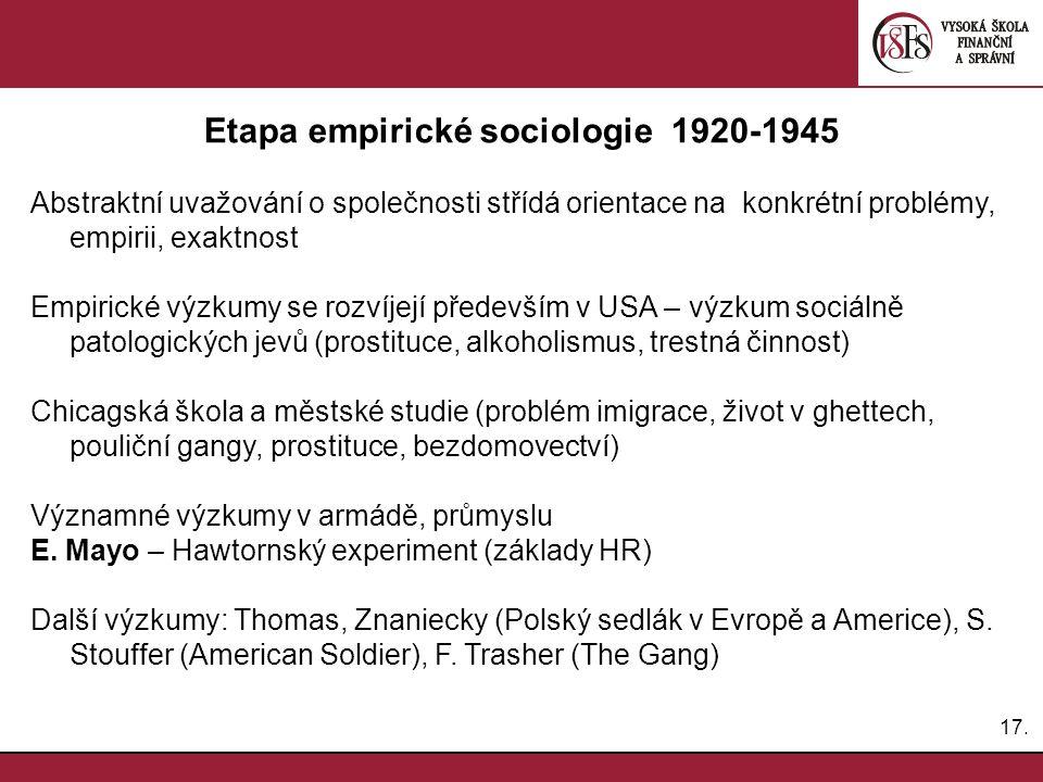 Etapa empirické sociologie 1920-1945