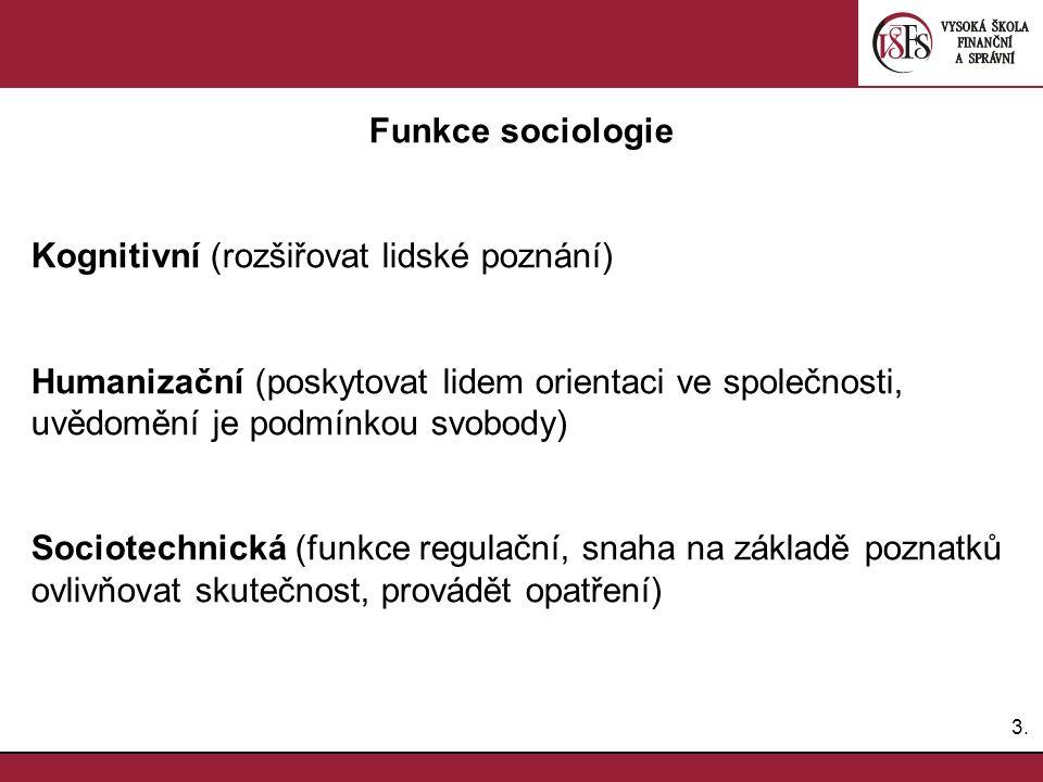 Funkce sociologie Kognitivní (rozšiřovat lidské poznání) Humanizační (poskytovat lidem orientaci ve společnosti,