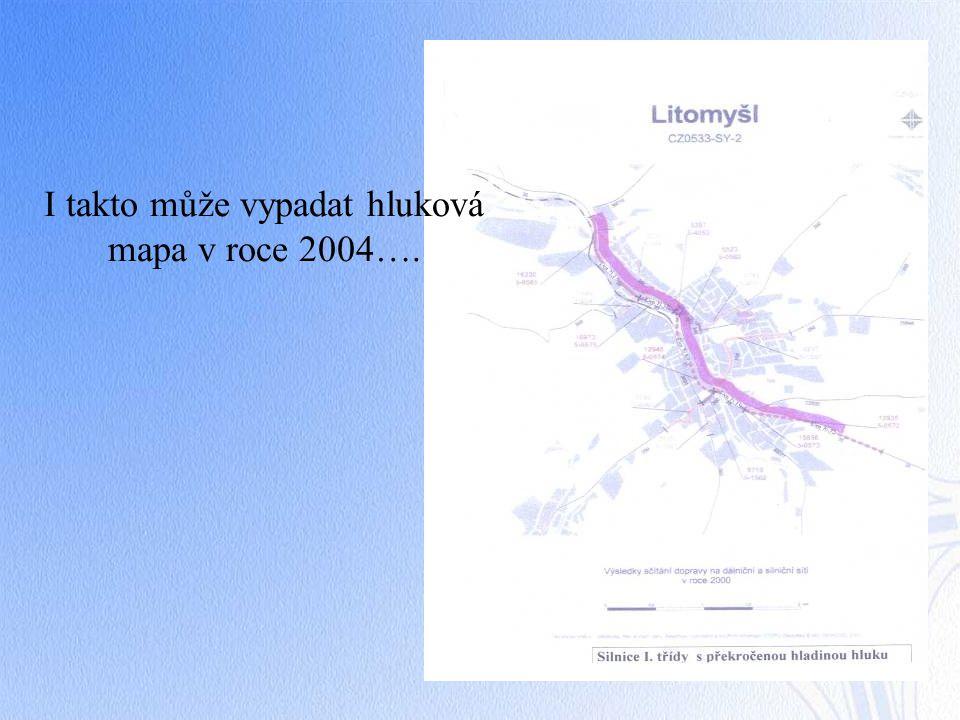 I takto může vypadat hluková mapa v roce 2004….