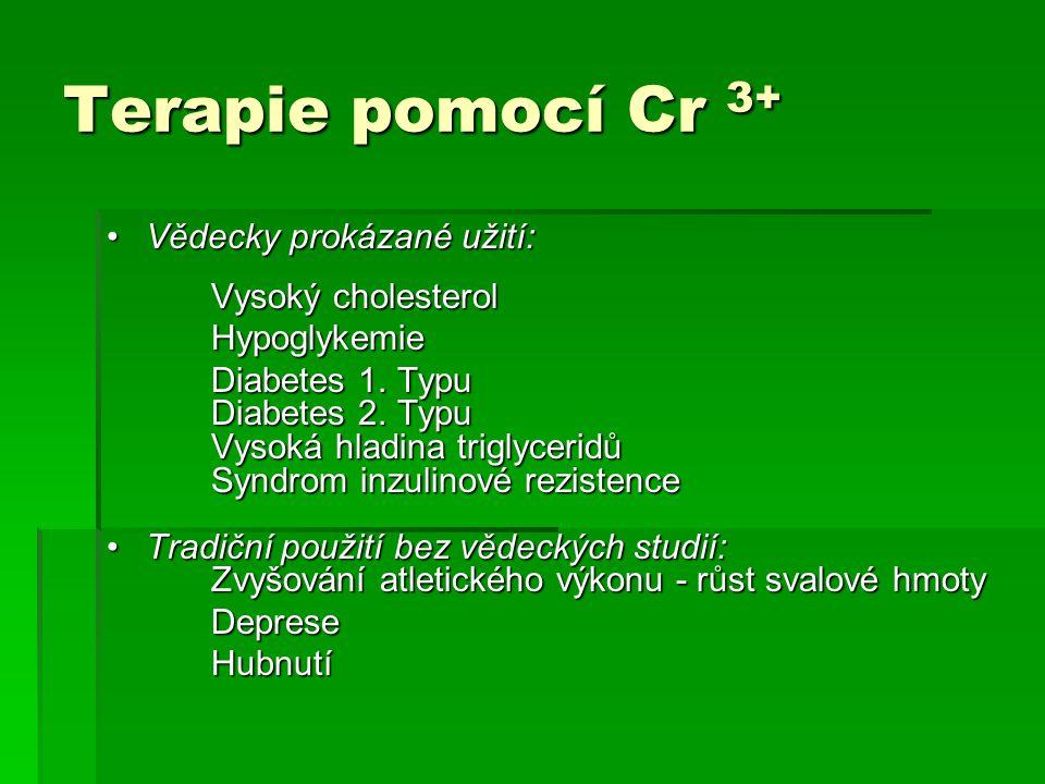 Terapie pomocí Cr 3+ Vědecky prokázané užití: Vysoký cholesterol