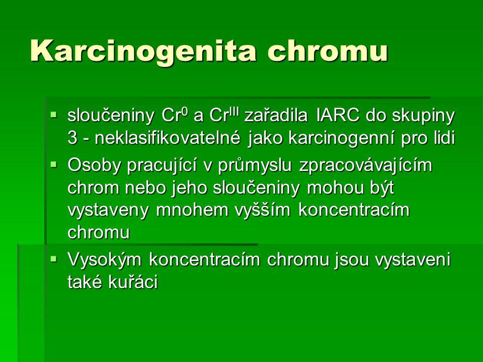 Karcinogenita chromu sloučeniny Cr0 a CrIII zařadila IARC do skupiny 3 - neklasifikovatelné jako karcinogenní pro lidi.